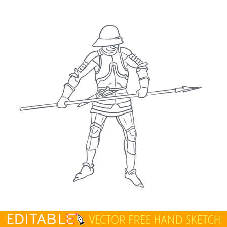 Medieval soldier. Landsknecht armor. Editable vector illustration in free hand style.