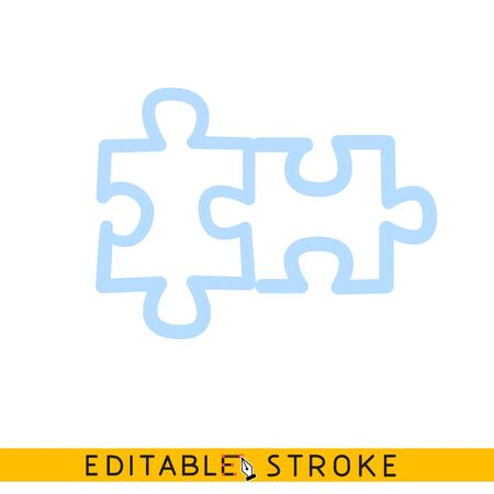 Two puzzle icon. Line doodle sketch. Editable stroke icon. Ilustração