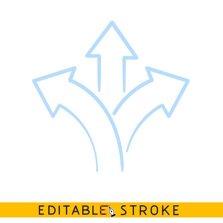 Three direction arrow icon. Line doodle sketch. Editable stroke icon.