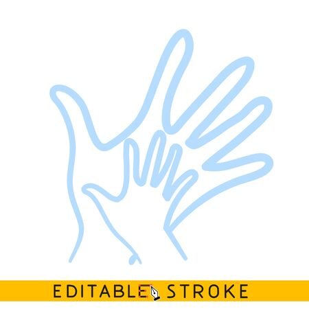 Child hand in adult hand icon. Line doodle sketch. Editable stroke icon.