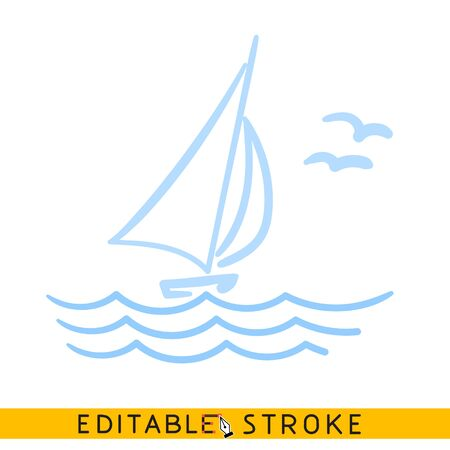 Sailing yacht in the sea icon. Line doodle sketch. Editable stroke icon. Banco de Imagens