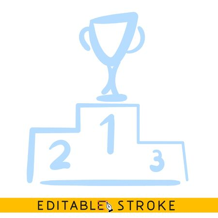 Podium with win cup icon. Line doodle sketch. Editable stroke icon.