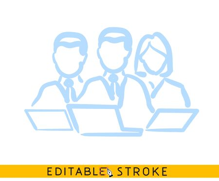 Teamwork leader icon. Line doodle sketch. Editable stroke icon.