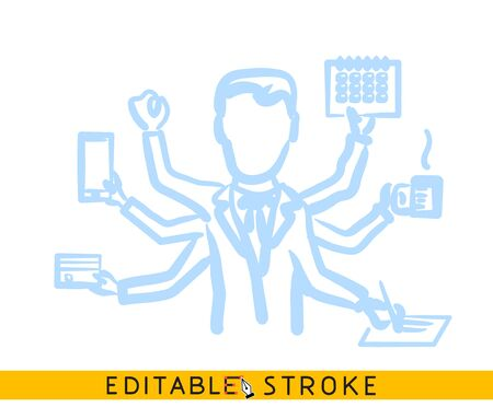 Multitask office employee. Line doodle sketch. Editable stroke icon. Banco de Imagens