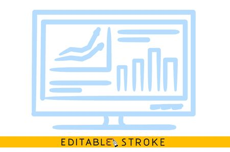 Data analysis icon. Line doodle sketch. Editable stroke icon. Banco de Imagens - 128415936