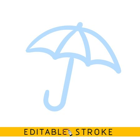 Umbrella icon. Line doodle sketch. Editable stroke icon.