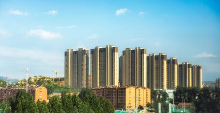 Modern Chinese town skyline in daylight