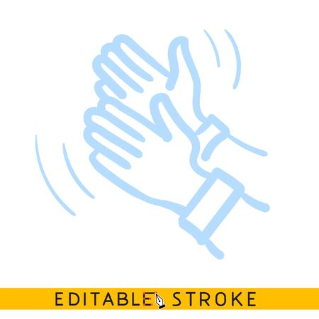 Clapping hands icon. Blue color line doodle sketch. Editable stroke icon