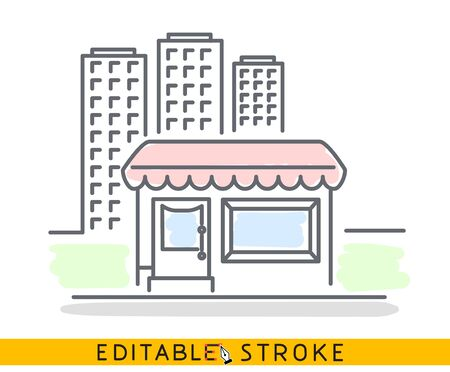 Building of small shop or company and big residential or business skyscrapers. Sketch line flat design of commerce architecture. Storefront illustration concept. Editable outlines stroke - Vector