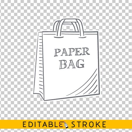 Mockup of paper shopping bag. Brand identity blank packaging, paper bag. Shopping bag paper mockup. Sketch with editable stroke