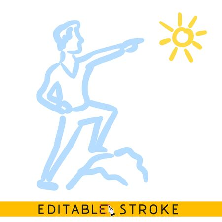 Leader point to sun icon. Editable stroke flat line icon. Doodle sketch