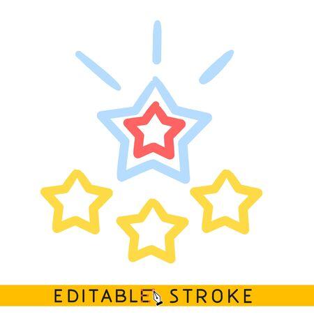 Stars award appreciate icon. Editable stroke flat line icon. Doodle sketch Ilustração