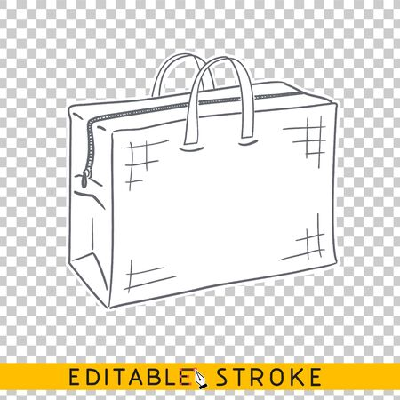 Big shopping bag drawing sketch icon. Line doodle sketch. Editable stroke icon.