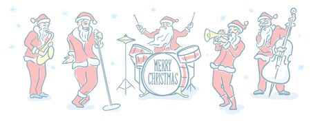 Santa Claus Christmas music band. Editable stroke flat line icon. Doodle sketch