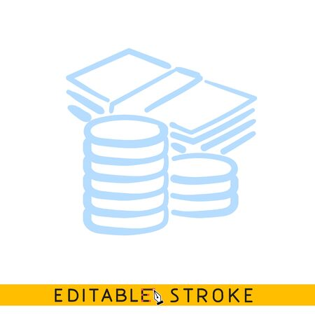Pile of coins and stack of banknotes icon. Line doodle sketch. Editable stroke icon Ilustração