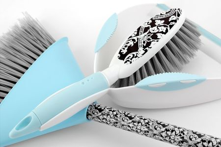Spring Clean Dustpan & Broom Stock Photo