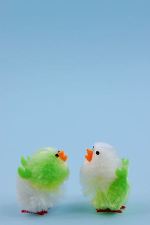 easter chicks on blue background