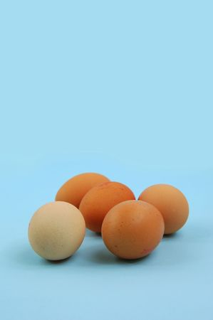 eggs on blue background Stock Photo