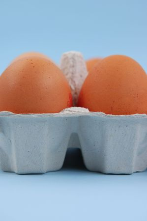 Pair of eggs in carton Stock Photo
