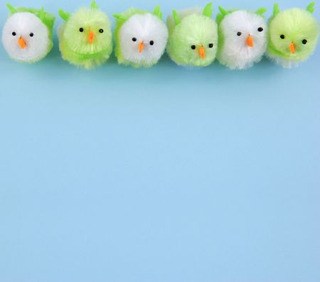 Row of easter chicks Stock Photo