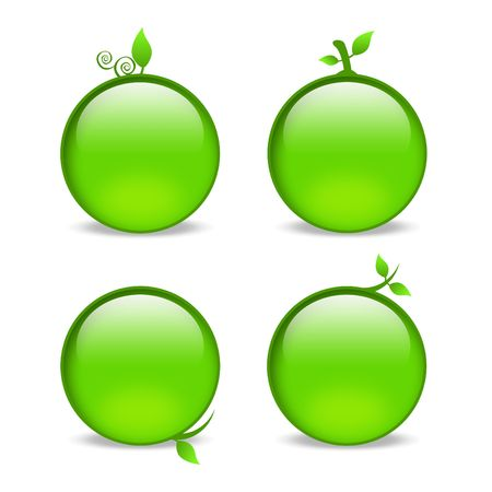 blank green web icons with leaf embellishments Stock Photo - 5176910