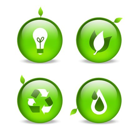 green environmental web icons with leaf embellishments