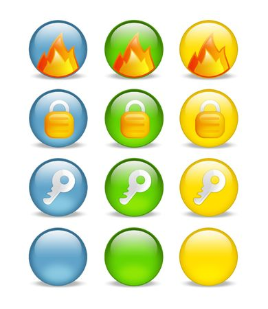 circular internet security icon set