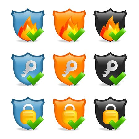 internet security icon shield set Stock Photo