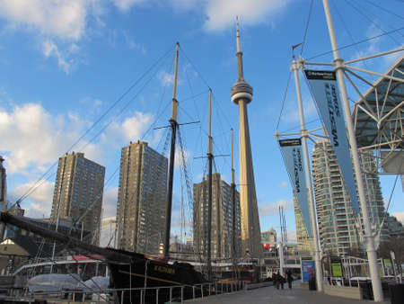 mast: ships mast near the CN Tower Editorial