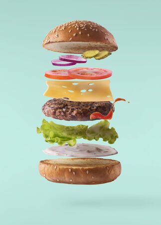 Delicious burger with flying ingredients isolated on turquoise background