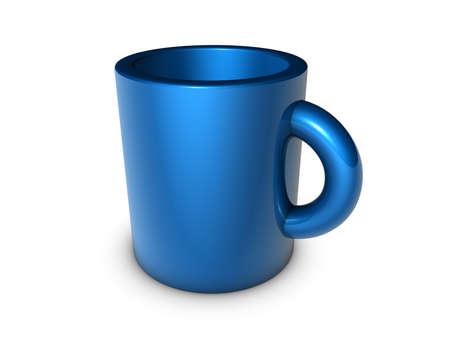 blue mug isolated 3d illustration illustration