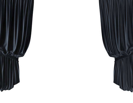 stage curtain: empty stage with blue velvet courtain illustration