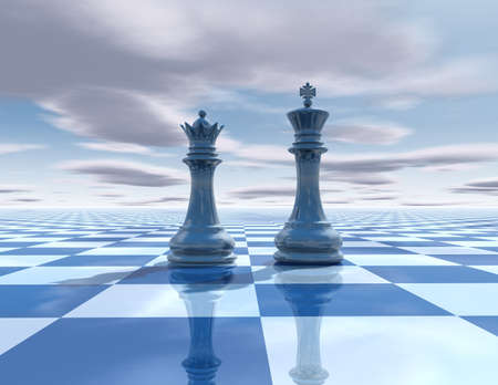 pawn king: abstract surreal background with chess figures, chessboard and sky Stock Photo