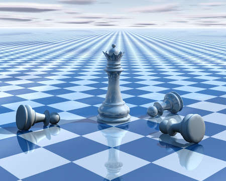 abstract surreal background with blue chess and chessboard 3d illustration vision concept illustration