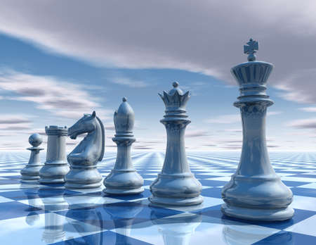 chess king: chess surreal background with sky and chessboard illustration Stock Photo
