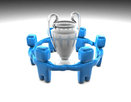 winning successful team with trophy concept illustration illustration