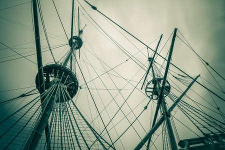 tall ship: old ship wreck mast vintage Stock Photo