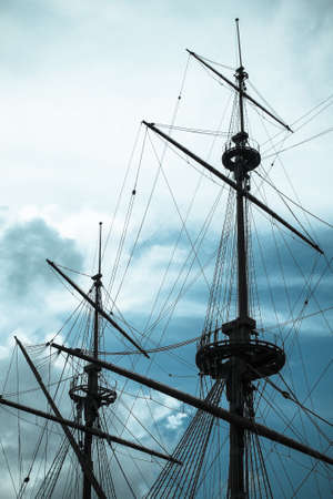 ship wreck: old ship wreck mast vintage Stock Photo