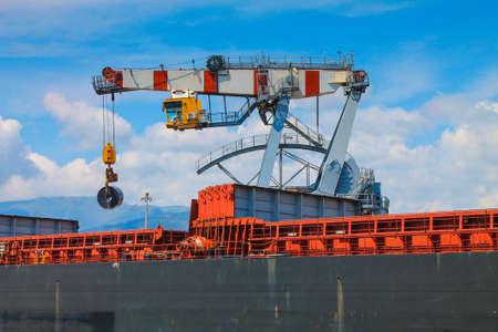 unloading: harbor crane unloading merches