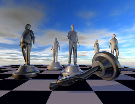 intimidation: Harassment and stalking abstract concept with figurines and chess board 3D illustration.