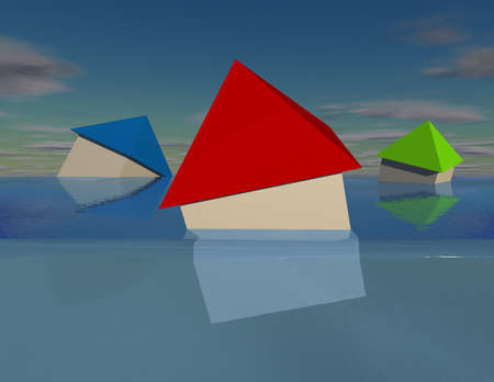 debt collection: Simple 3D houses under water debt and flood concept 3D illustration. Stock Photo
