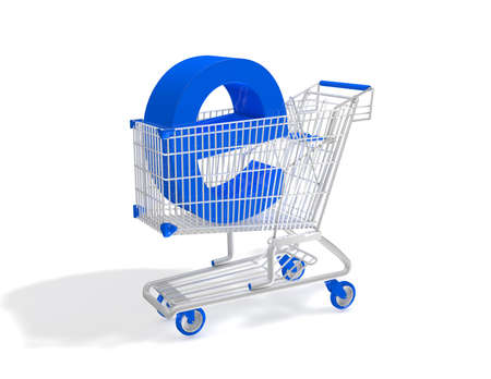 eshop: E-business and e-shopping concept 3D illustration with trolley. Stock Photo