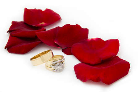 Wedding Rings by Rose Petals photo