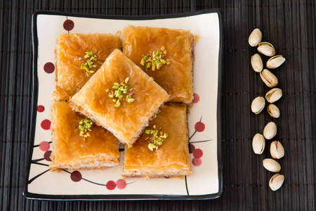 Baklava on a Plate with Pistachios photo
