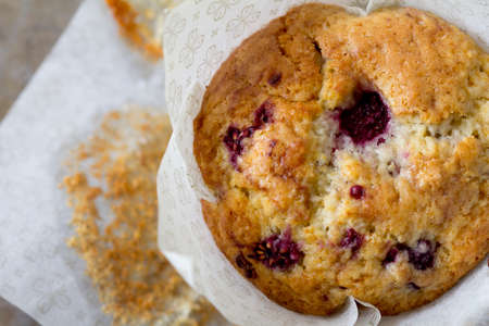 Raspberry Muffin from Above with Baking Cup photo