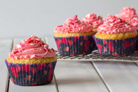 Vanilla Cupcakes with Pink Buttercream Frosting and Heart Sprinkles on a Baking Rack with one in Foreground Closeup Selective Focus