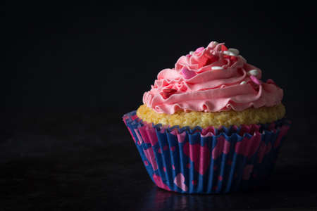 vanilla cupcake: Single Vanilla Cupcake with Pink Buttercream Frosting and Heart Sprinkles with Dark Background Stock Photo