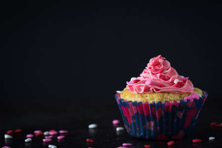 vanilla cupcake: Single Vanilla Cupcake with Pink Buttercream Frosting with Scattered Heart Sprinkles on Dark Background