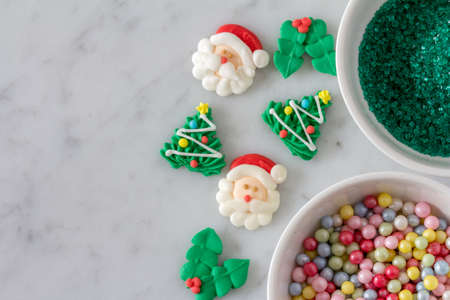 christmas baking decoration set out to decorate cookies with trees santas holly - Decorating Cookies With Sprinkles For Christmas