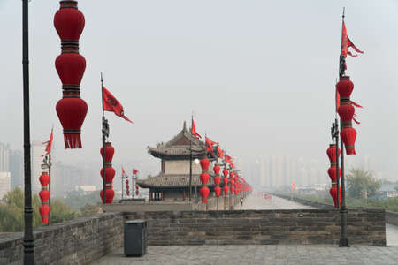 Looking from West Gate of the City Wall of Xian China on a Foggy Morning